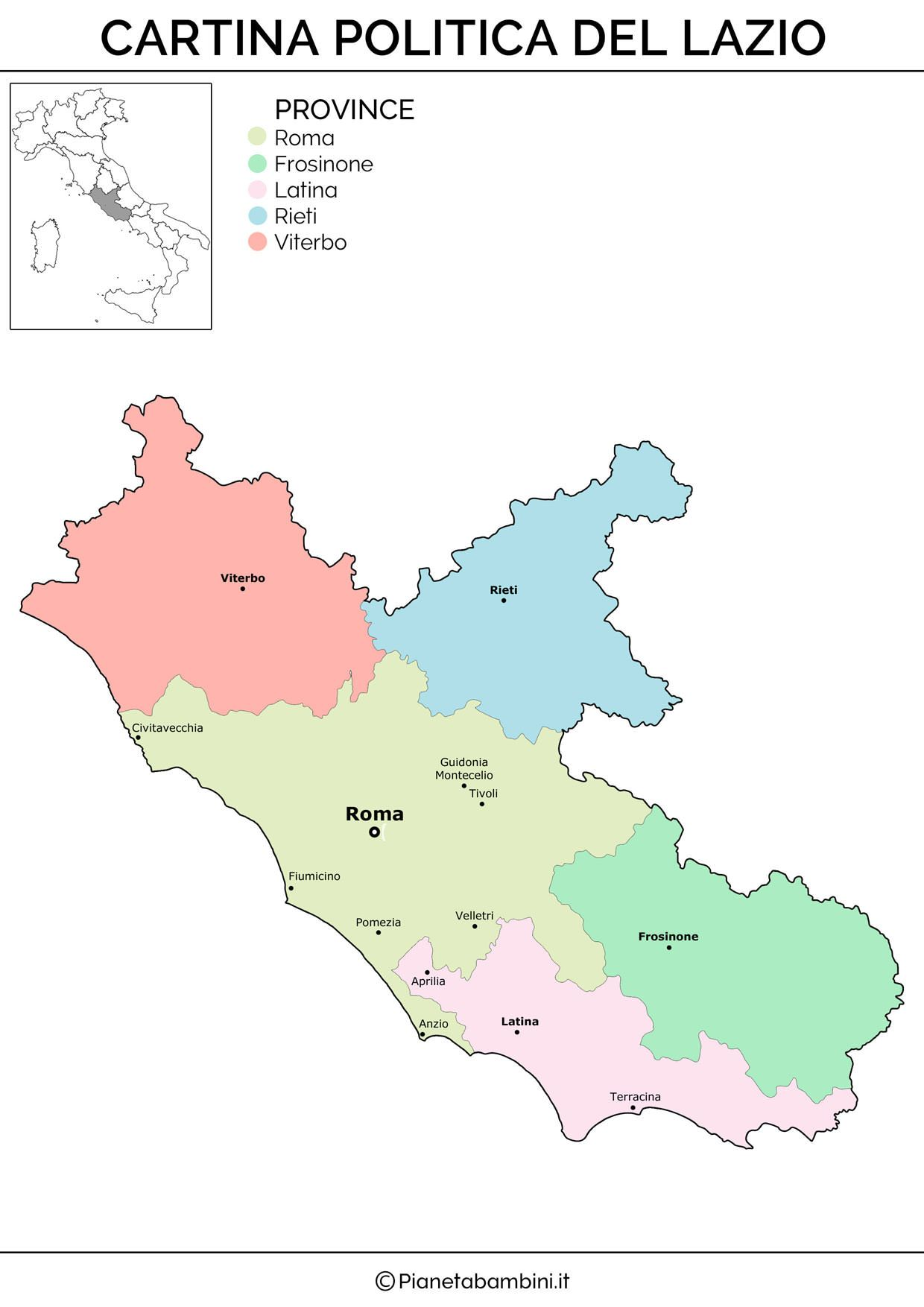 Cartina Sicilia Pdf.Cartina Muta Fisica E Politica Del Lazio Da Stampare Politica Geografia E Fisico