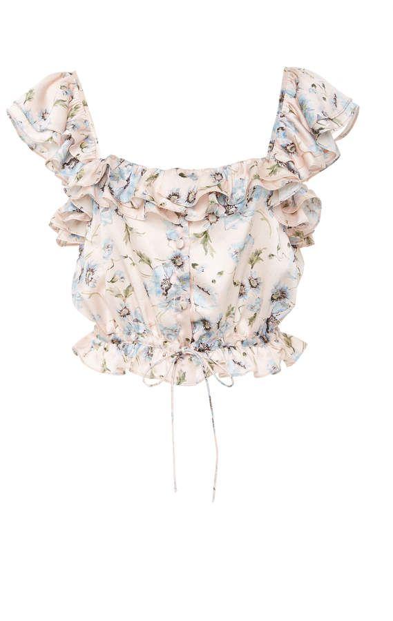 6ba50901b6e467 LoveShackFancy Mia Floral Silk Crop Top