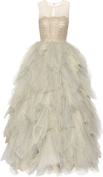 Oscar de la RentaEmbroidered Tulle Gown #lyst