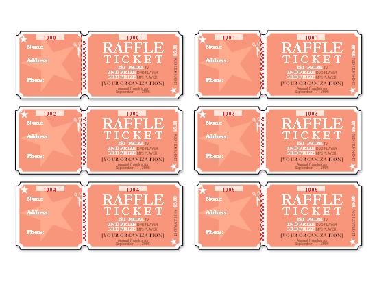Raffle Tickets 6 Per Page Templates Officecom