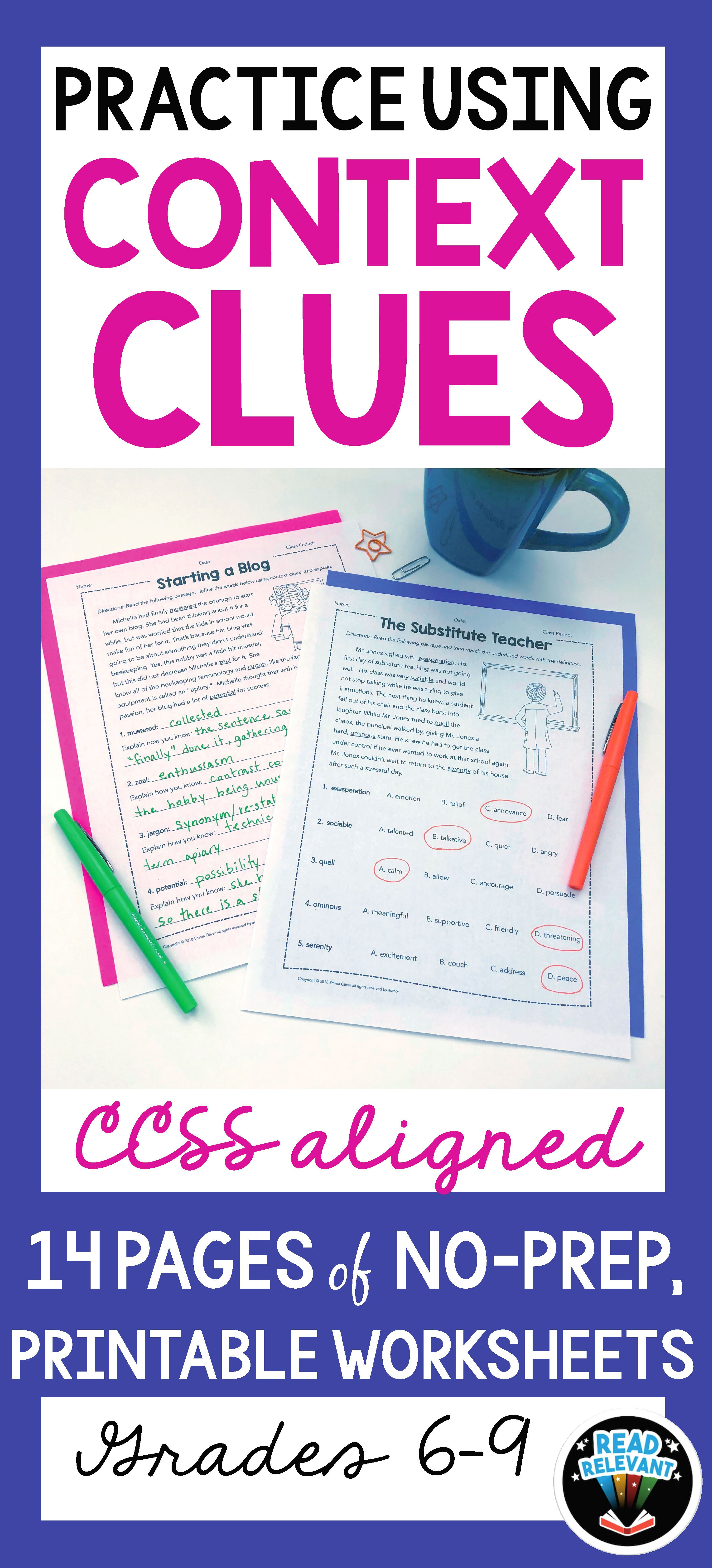 Vocabulary Practice Using Context Clues Worksheets With