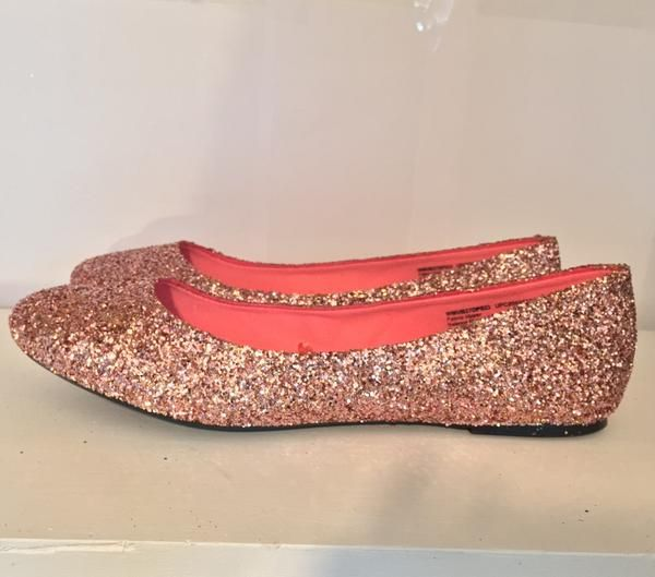 a57cc7c5bd4e Women s Sparkly Metallic Rose Gold Pink Glitter ballet Flats wedding bride prom  shoes