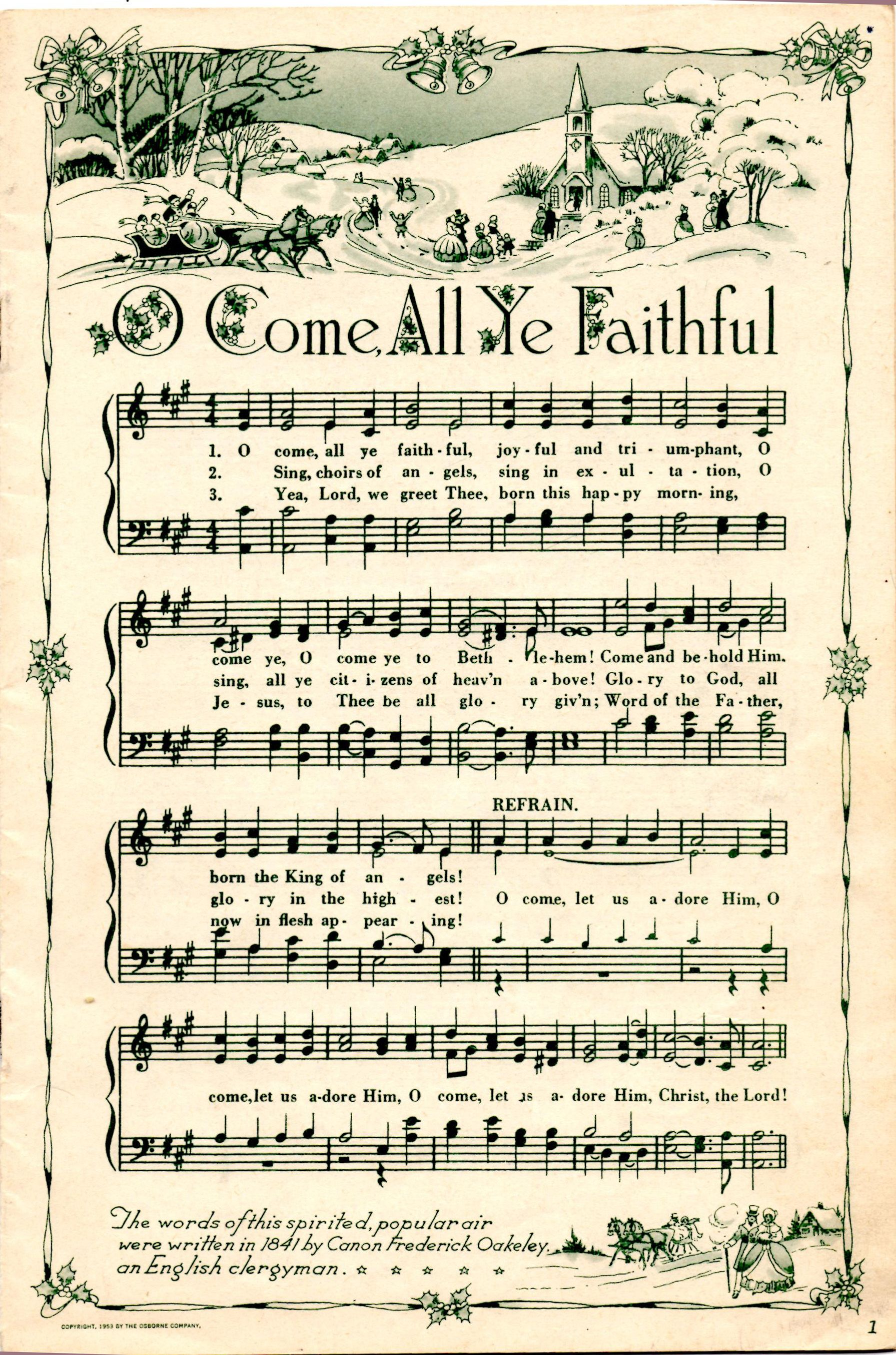 O Come All Ye Faithful Christmas Sheet Music Christmas Printables Vintage Christmas