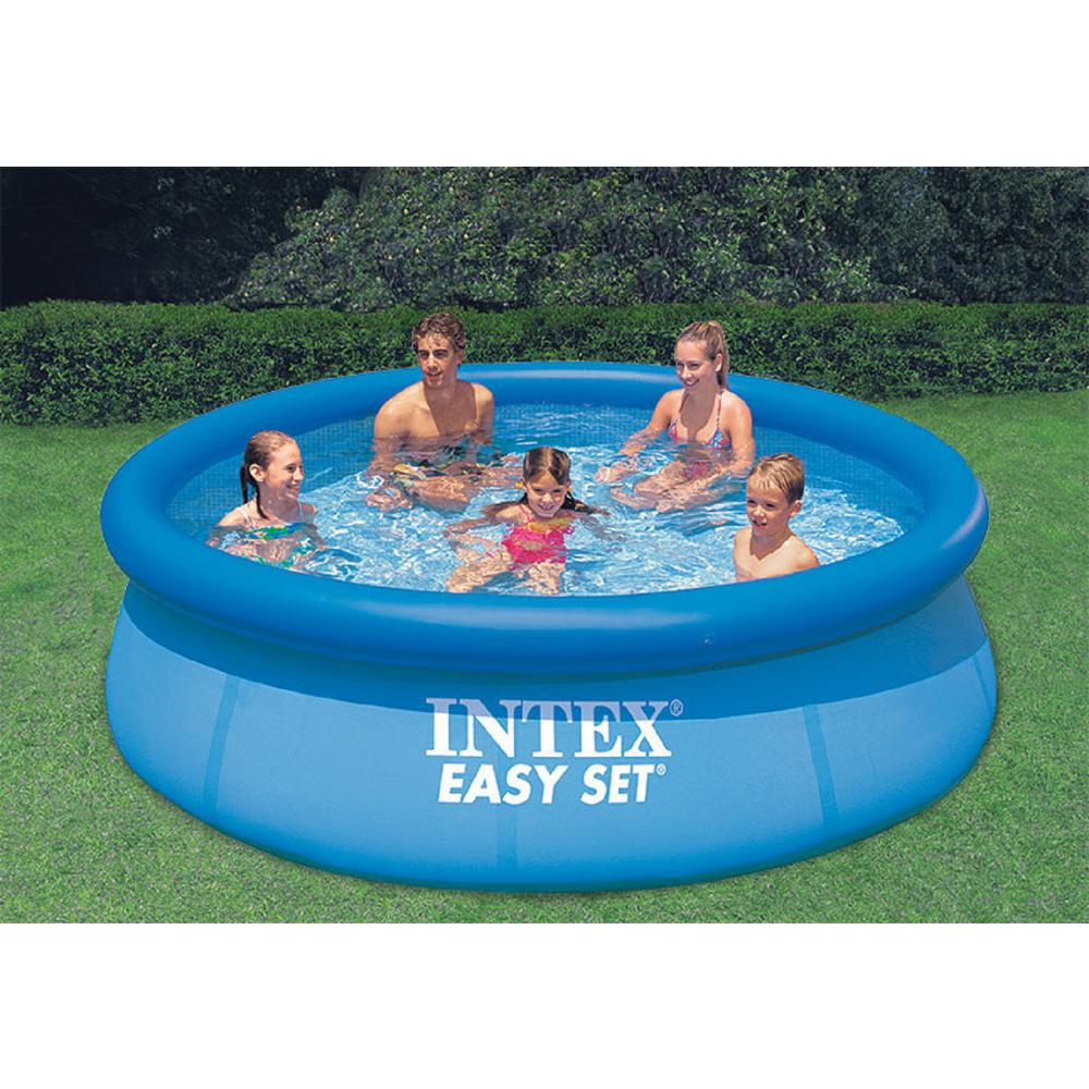 Intex Easy Set 10 Ft Round X 30 In Deep Inflatable Pool 28120eh The Home Depot Portable Swimming Pools Building A Swimming Pool Swimming Pools