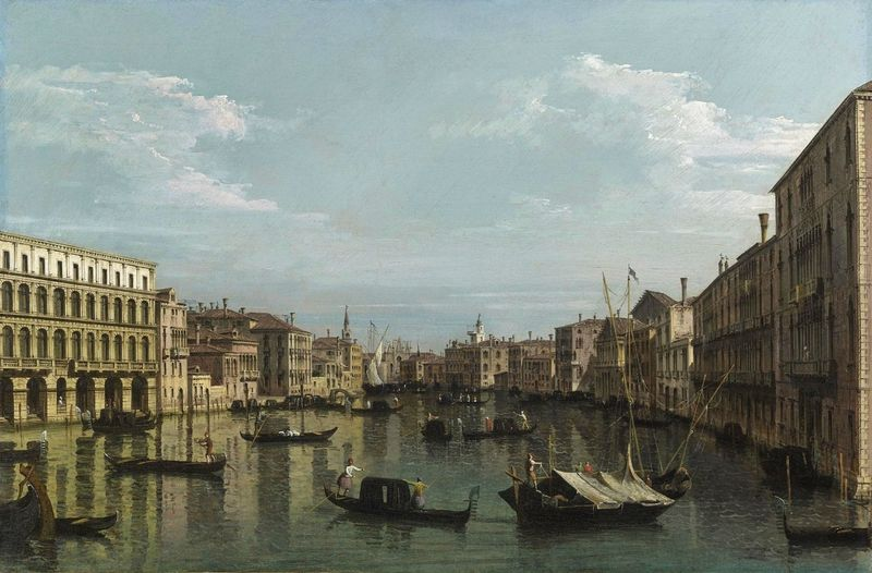 Bernardo Bellotto (Venice 1722-1780 Warsaw), Venice, A View of the Grand Canal, looking South from the Palazzo Foscari and Palazzo Moro-Lin Towards the Church of Santa Maria della Carità, with Numerous Gondolas and Barges. Oil on canvas, 59.7 x 89.5 cm. Moretti Florence - London - New York © TEFAF Maastricht, 2016