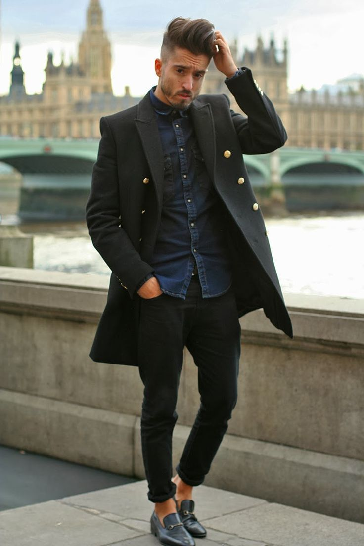 cace10b9379 Nice amount of dark with simple denim shirt. The large buttons on the coat  (Zara) pop with the shoe buckles. Very clean. --G