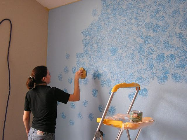 Friday Flashback The Blue Wall Sponge Painting Walls Simple
