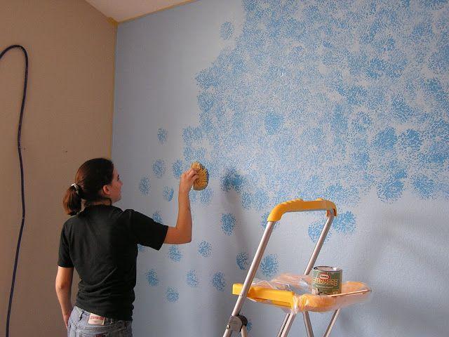 Friday Flashback The Blue Wall Sponge Painting Walls Simple Wall Paintings Wall Paint Designs