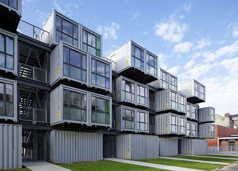 Student dorm stacked shipping containers. Awesome style and equally  brilliant idea for cheap but safe