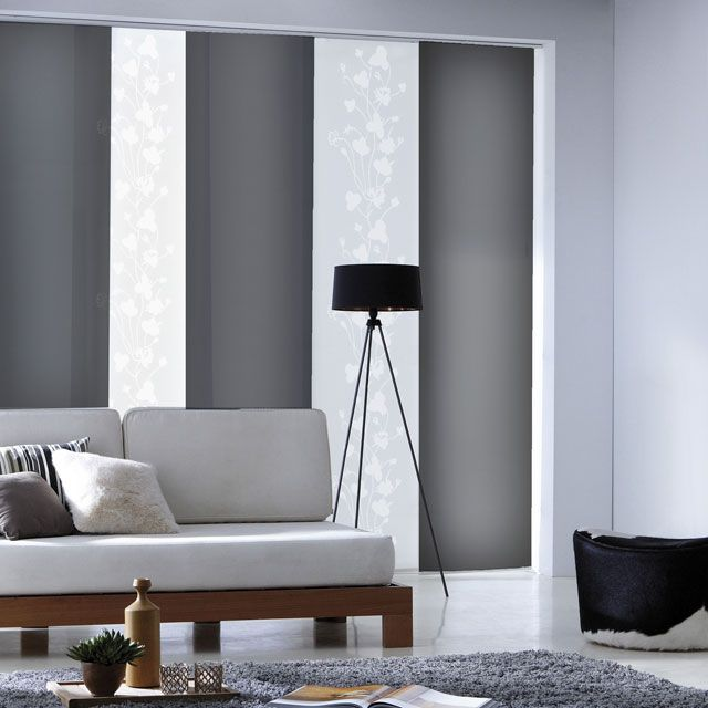 panneau japonais gris screen 45 x 260 cm castorama rideaux japonais pinterest rideau. Black Bedroom Furniture Sets. Home Design Ideas