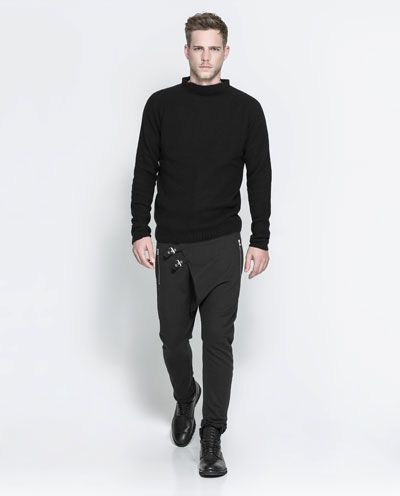 DROP-CROTCH TROUSERS WITH ZIP AND POCKET