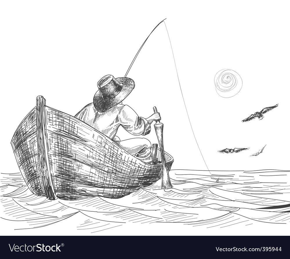 Fisherman Drawing Vector Image On Vectorstock Boat Drawing Fish Drawings Drawings
