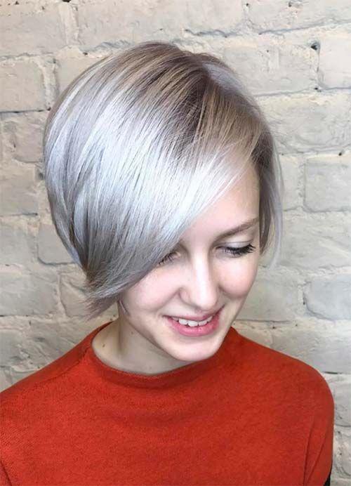 Peinados cortos para mujeres con cabello fino   fino Bob platino