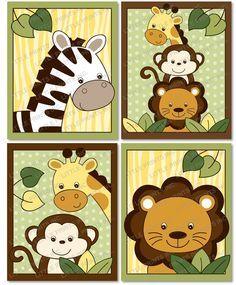 Safari jungle animal nursery wall art by littleprintsparties caricaturas in 2018 - Babyzimmer jungle ...