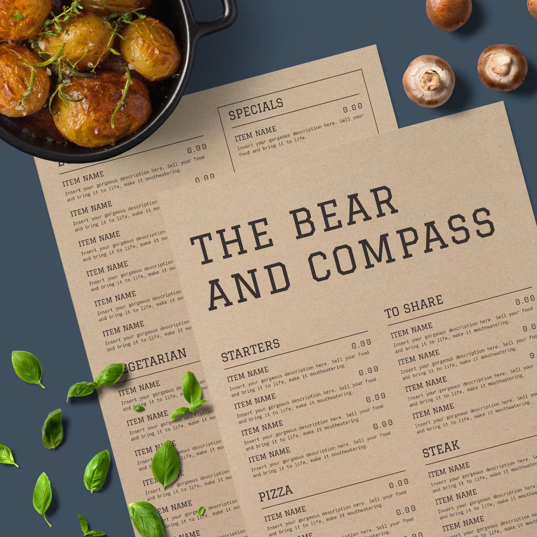 the bear pass a rustic menu design with a modern twist
