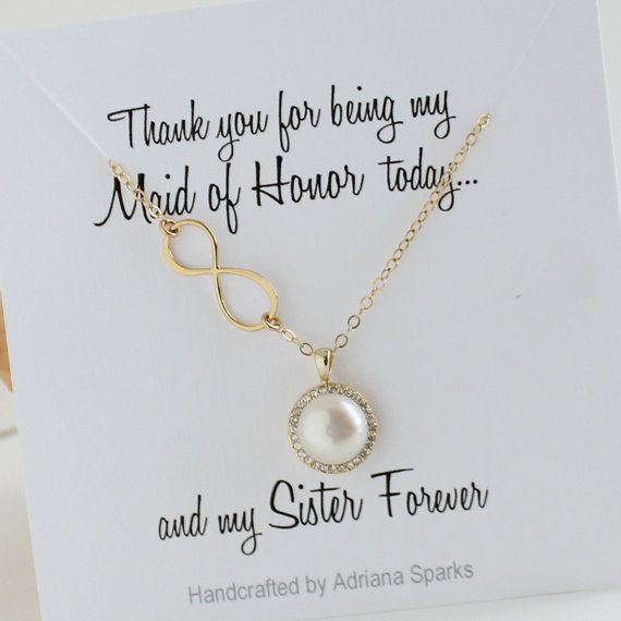 Maid Of Honor Sister Gift Infinity Pearl Gold Necklace Halo Pearl Necklace Sister Card Maid Of Honor Maid Of Honour Gifts Sister Wedding Gift Maid Of Honor