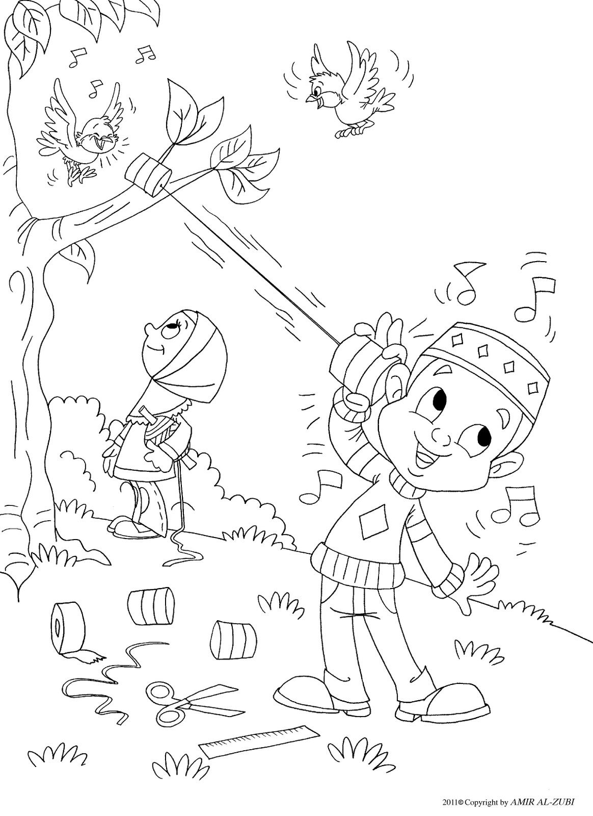 Outside Coloring Page Muslim Boy Coloriages Islamiques