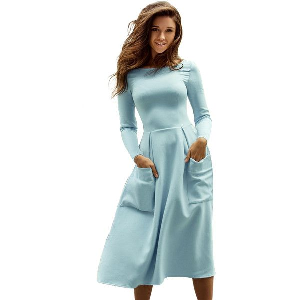 a4b66b7adb882 Light Blue Bateau Collar Casual Big Pocket Skater Dress ( 35) ❤ liked on  Polyvore featuring dresses