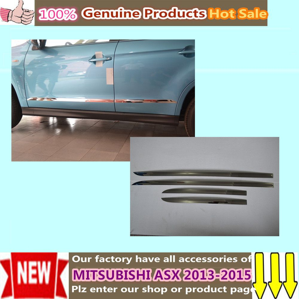 Car Styling Cover Protection Detector Stainless Steel Side Door Body Trim Sticks Strip Molding 4pcs For Mitsubishi Asx 2 Side Door Mitsubishi Replacement Parts