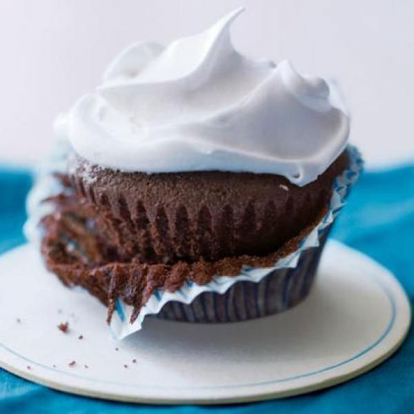 Healthy Chocolate Cupcakes with Marshmallow Frosting Recipe - 18 Healthy Chocolate Dessert Recipes - Shape Magazine