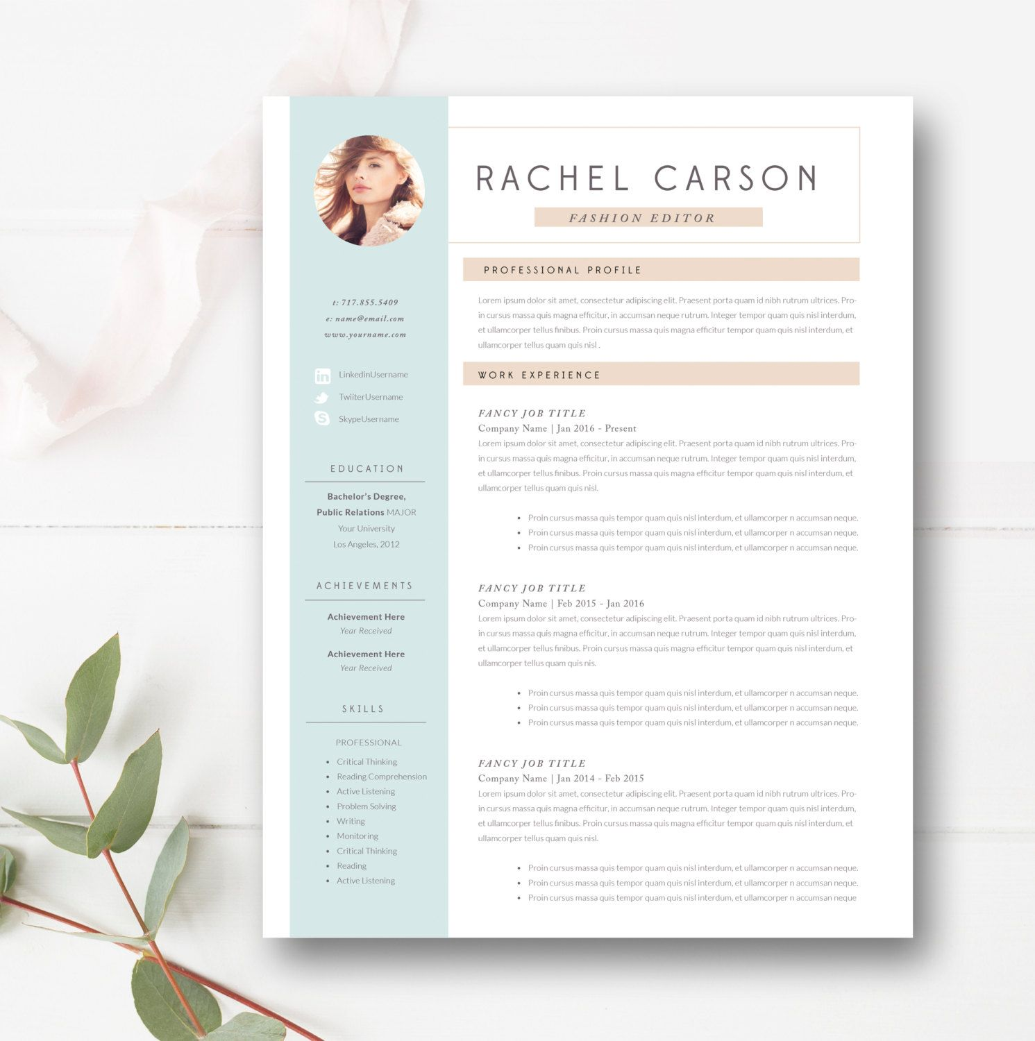 Creative and Modern Resume Template 3 page / CV Template + Cover ...