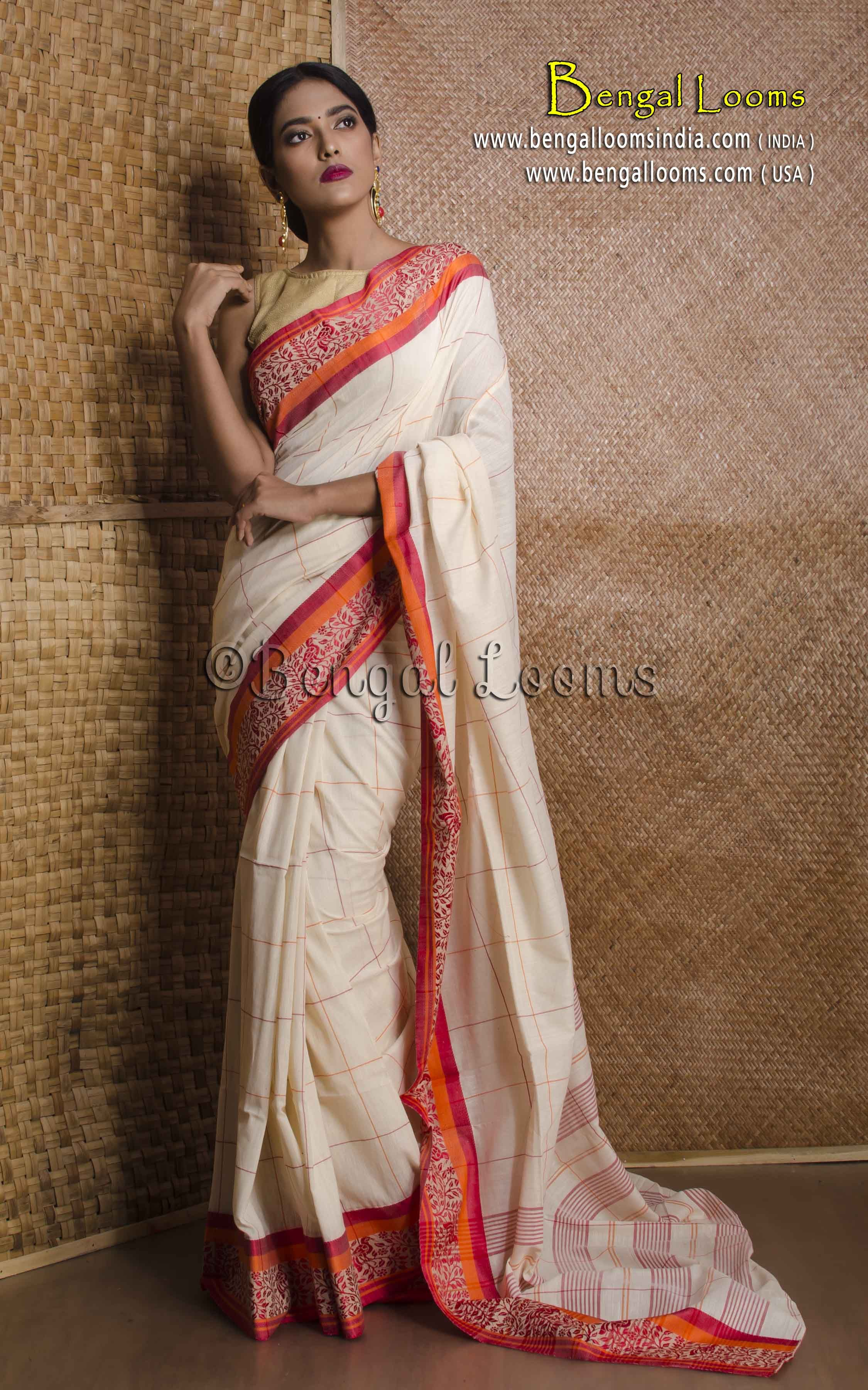 d283e6dde8 Pure Handloom Soft Cotton Saree with Naksha Border in Cream and Red ...
