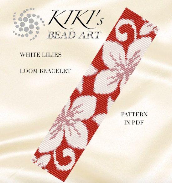 Bead loom pattern - White lilies LOOM bracelet pattern in PDF - instant download by KikisBeadArts on Etsy https://www.etsy.com/listing/465221115/bead-loom-pattern-white-lilies-loom
