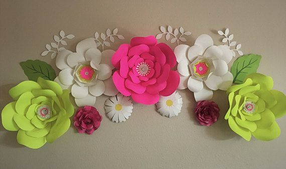Pink And Yellow Large Paper Flowers Wall Decor Paper Flowers
