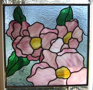 Flower Blossoms Stained Glass Panel EBSQ Artist