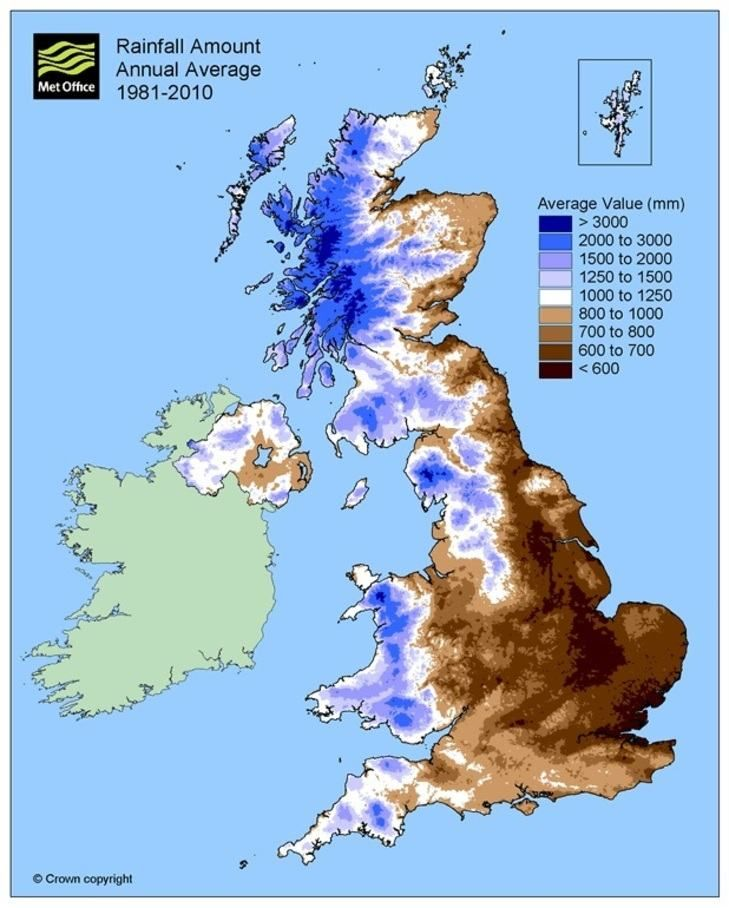 Map Of Uk 1500.Map Of The Uk Coloured To Show Average Annual Rainfall With Shades