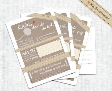 Hochzeitsspiel Schon Dass Du Da Bist Beige Postkarten Spiel Postkartengruss 3 12 26 52 Oder 100 Stuck Hochzeit Spiele Hochzeitsspiele Gastebuch Hochzeit