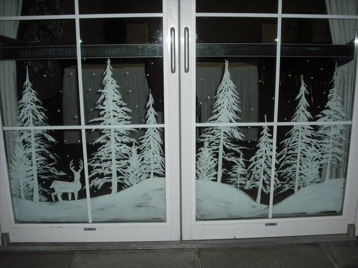 Snowy forest doors by window on - Glass window painting ideas ...