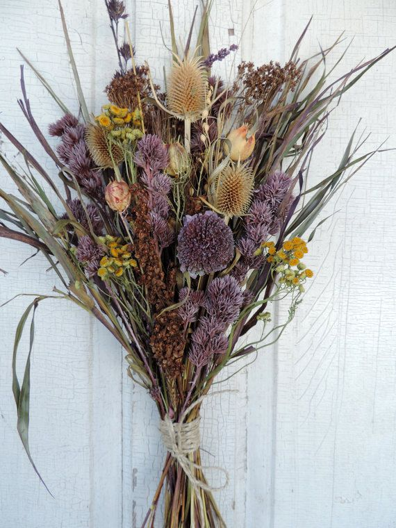 Dried Flower Bouquet Floral Arrangement Thistle Purple Sunflower ...