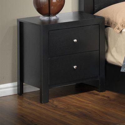 Glory Furniture Aries 2 Drawer Nightstand Finish Black
