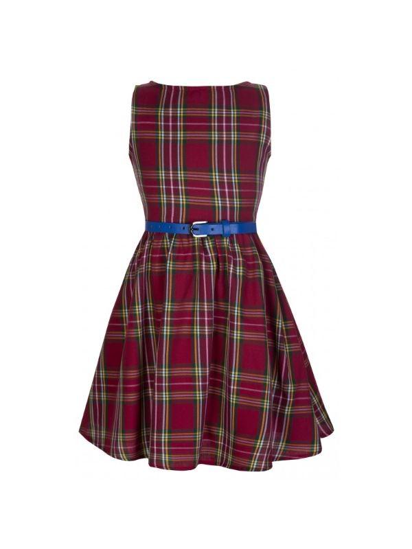 Retro šaty Lindy Bop Mini Audrey Red Tartan - dětské  e35c817460
