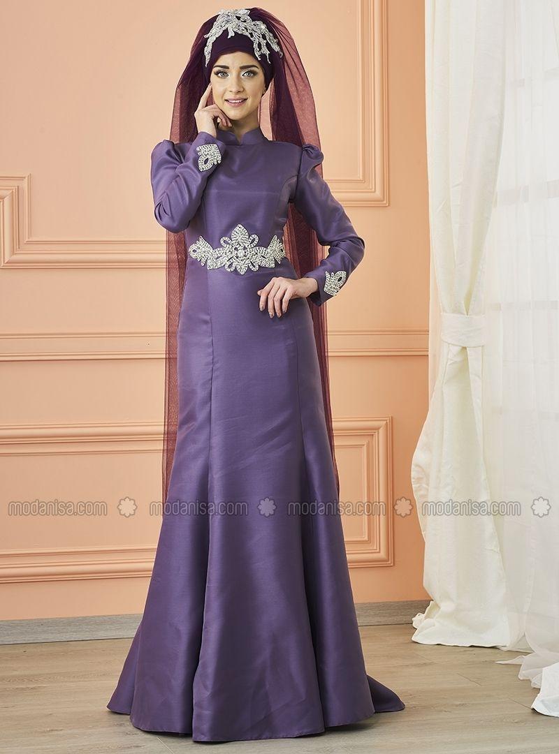 f10beddb19 Purple - Fully Lined - Crew neck - Polyester - Muslim Evening Dress - Mevra