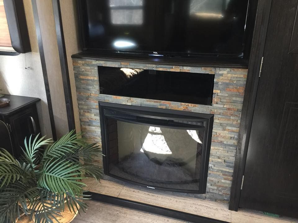 What A Great Idea Add A Little Stone Around The Fireplace In Your