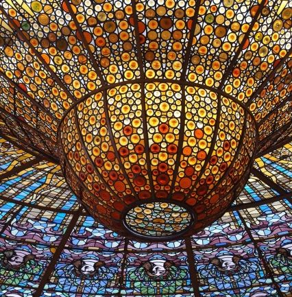 Barcelona. The stained-glass inverted dome at Palau de la Música