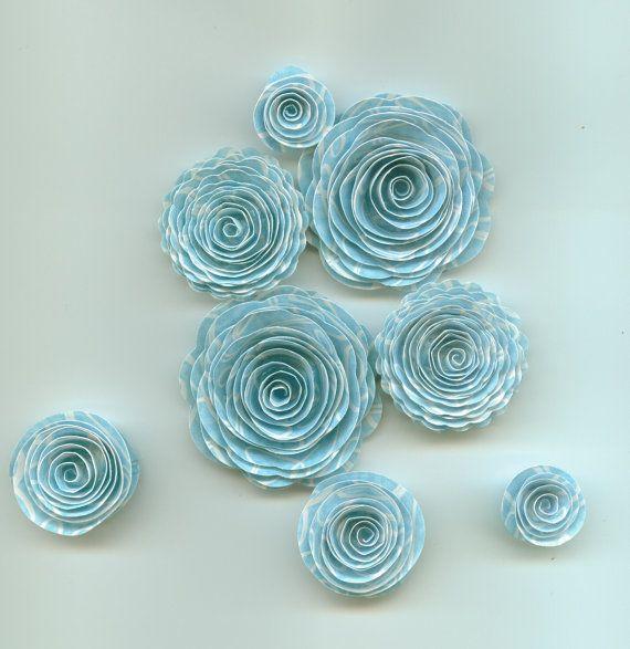 Little Pond Blue Handmade Spiral Paper Flowers
