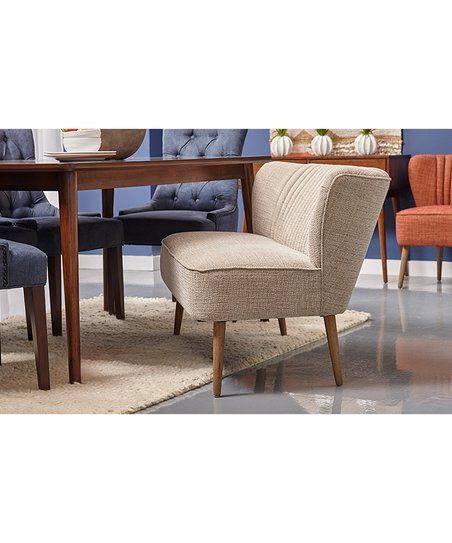 Kendrick Oatmeal Mid-Century Channeled Settee | zulily