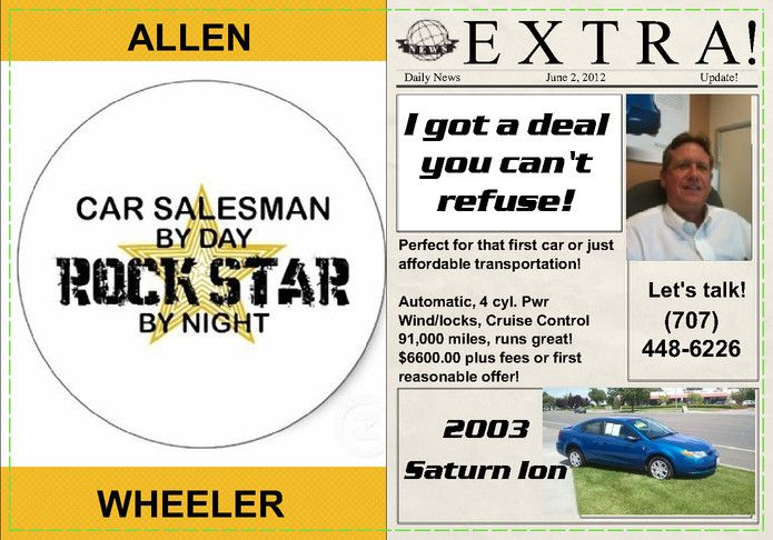 Inside of Car Sales Promo card