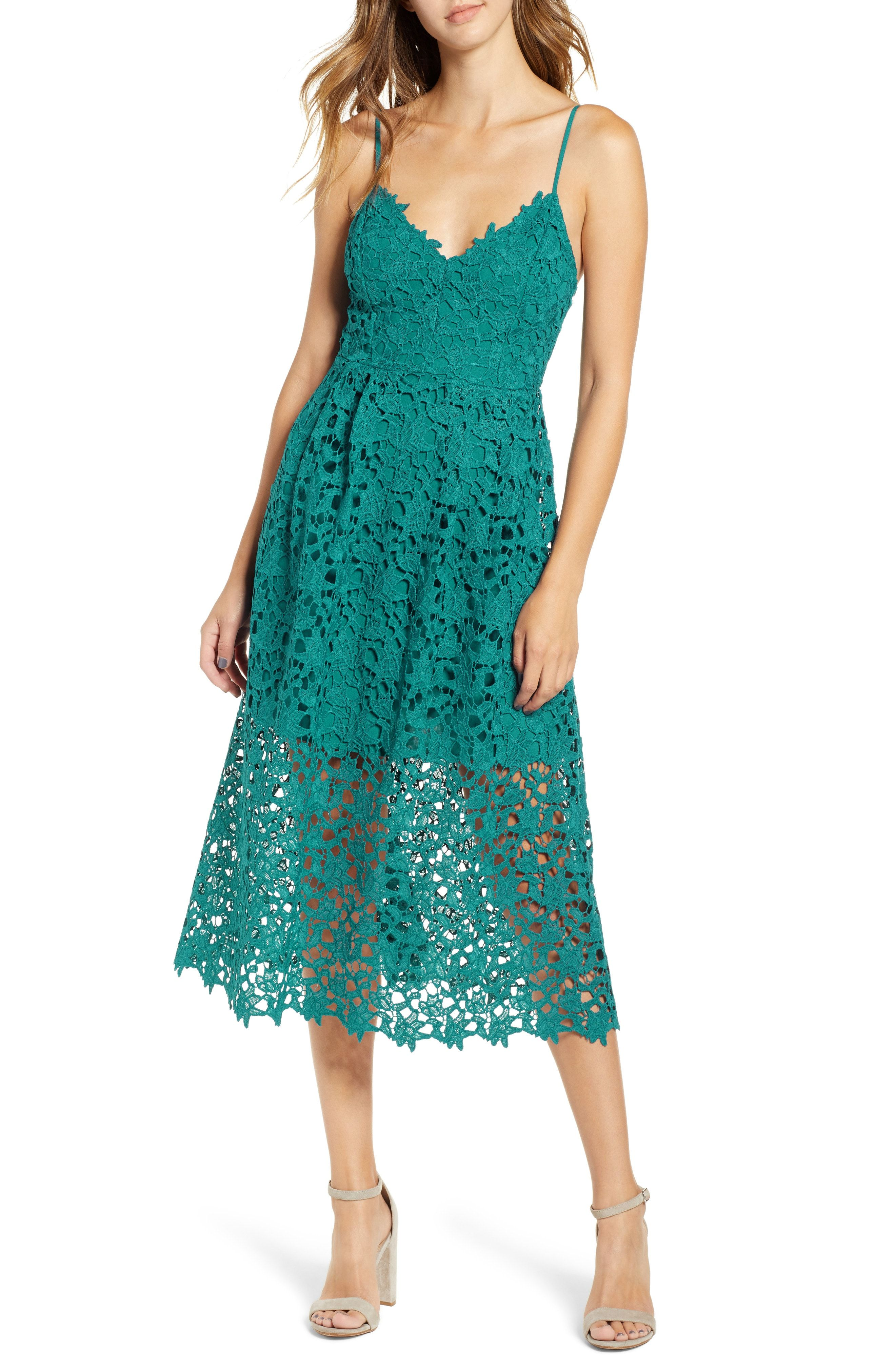 Jade Green Lace Midi Dress With Spaghetti Straps Astr The