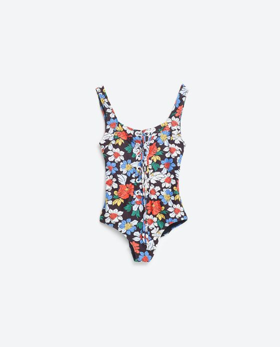 7788563e386 Image 1 of PRINTED FLORAL SWIMSUIT WITH CORD from Zara | little ...
