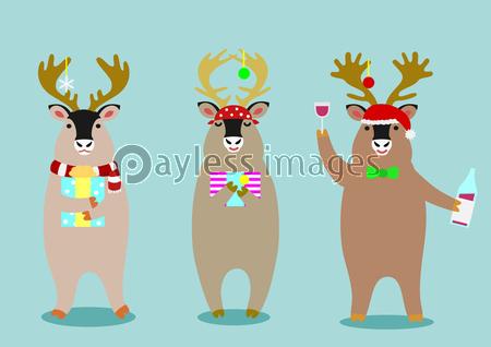 かわいいトナカイのセットの写真 イラスト素材 xf4475199340 ペイレスイメージズ お正月 飾り サンタクロース 帽子 かわいい