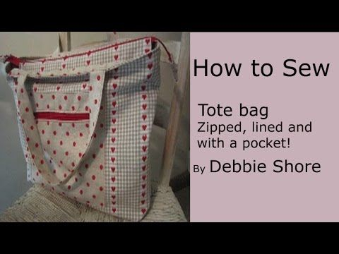 A Zippered Lined Tote Bag For You To Sew By Debbie Shore My Crafts And Diy Projects Tote Bag Tutorial Zippered Tote Bag Tutorial Tote Bags Sewing