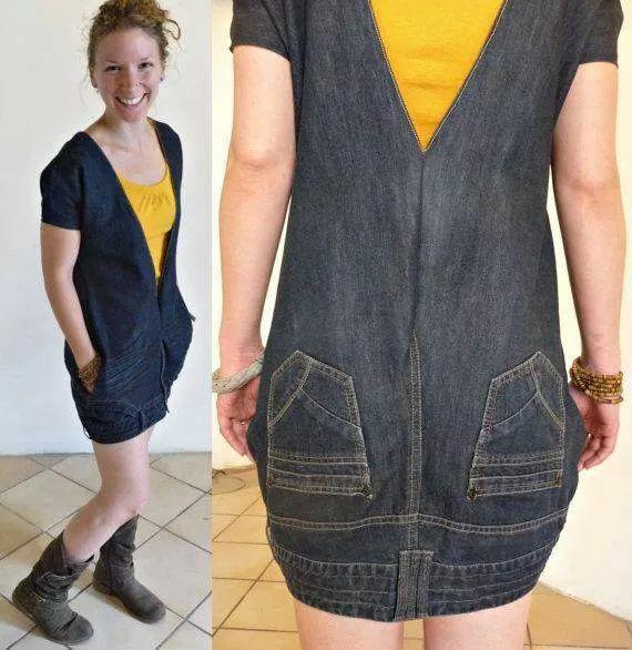 Muito legal esse vestido feito de calça jeans!