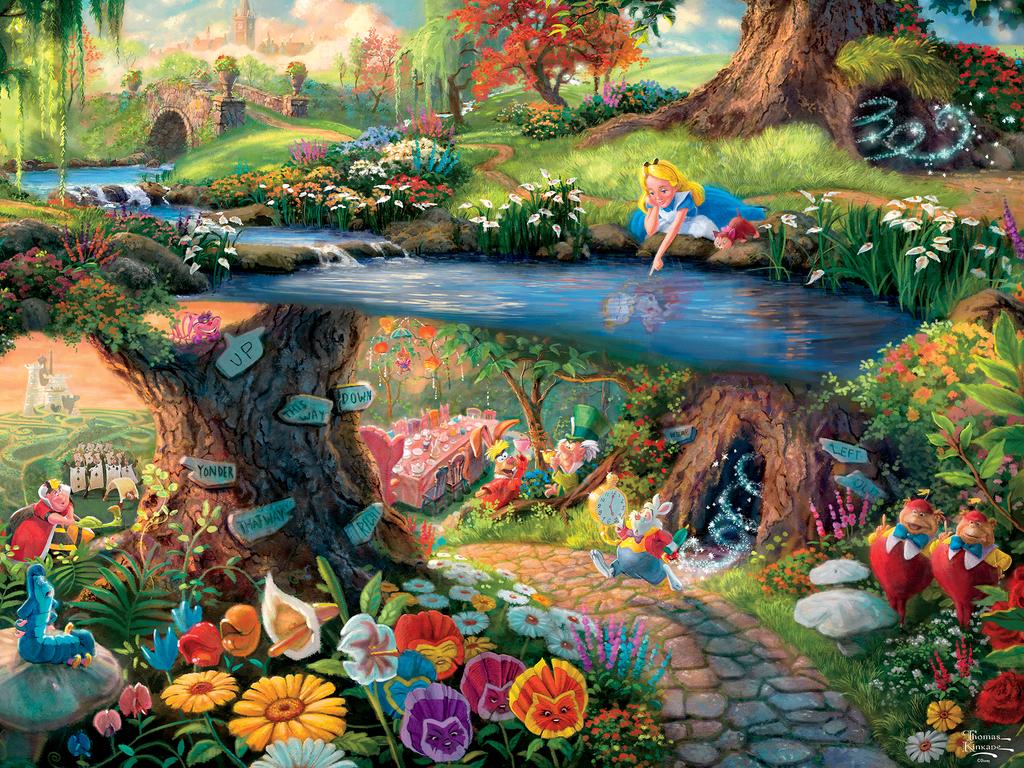 Thomas Kinkade Alice in Wonderland 12 x 18 S//N Limited Edition Paper Disney
