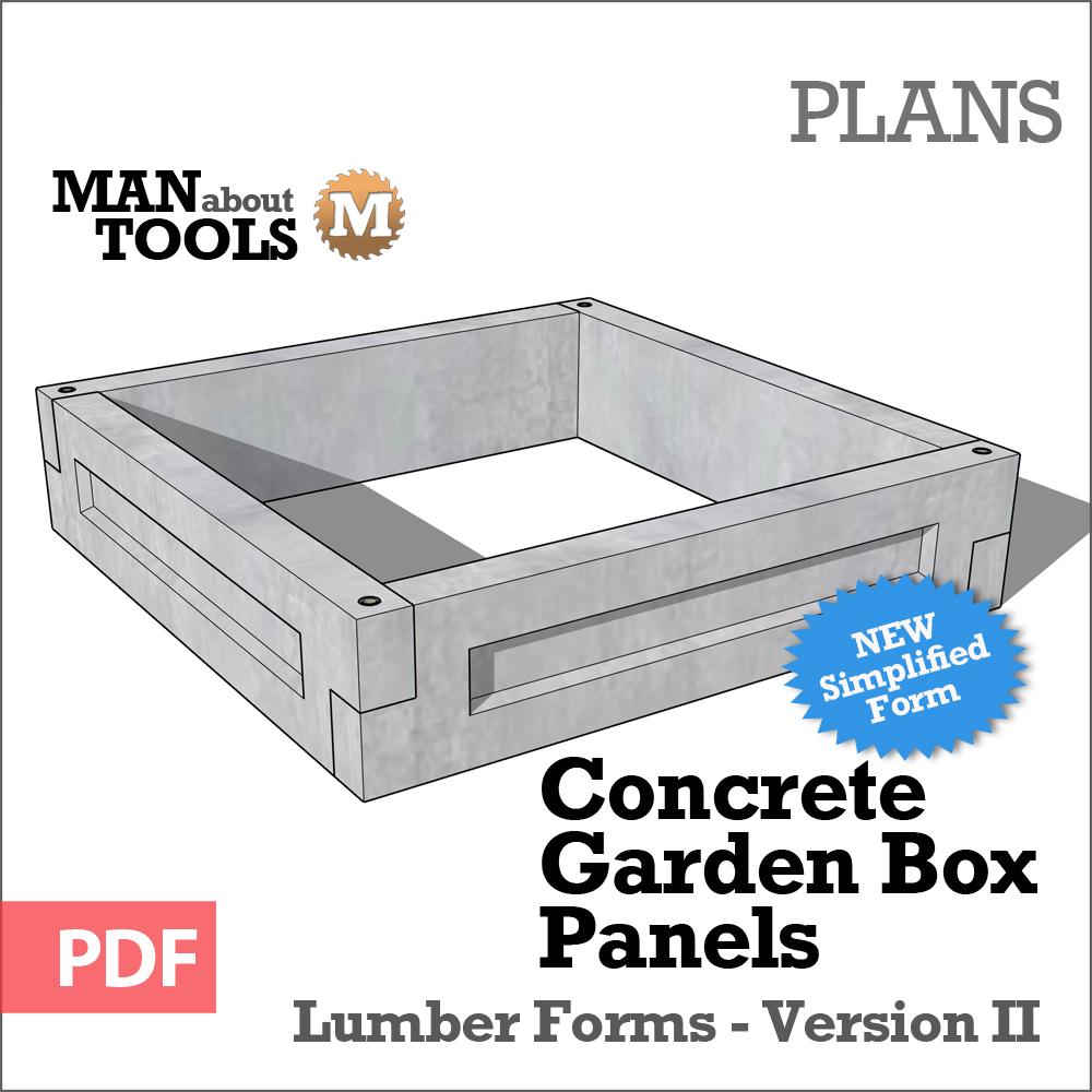 Concrete Garden Box Panels Version Ii Digital Plan Concrete Garden Garden Boxes Garden Box Plans