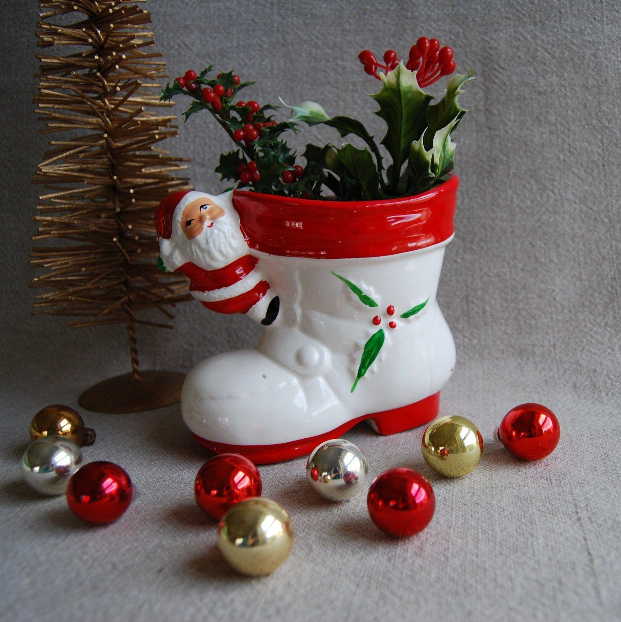 Santa Boot Planter Vintage Santa Claus Christmas Planter Etsy Christmas Planters Vintage Santas Vintage Holiday Decor