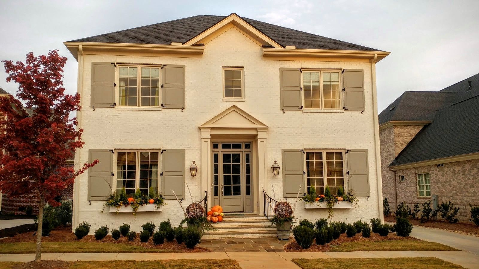 Custom Painted Exterior Shutters To Match Painted Front